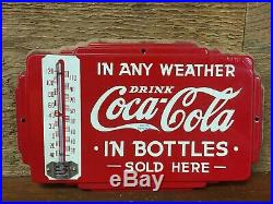 Very Rare! Drink Coca-Cola In Bottles In Any Weather Vintage Metal Thermometer