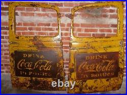 Very Rare Two Vintage Coca-Cola Yellow Truck Doors Sign Advertisement