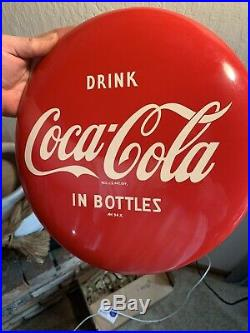 Vintage 12 Inch Drink Coca Cola in bottles Button MINT condition VERY CLEAN