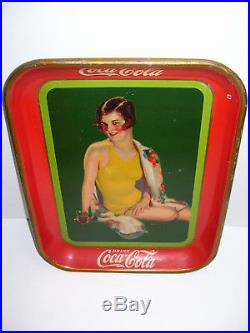 Vintage 1929 Coca-Cola Serving Tray Girl Yellow Bathing Suit withfountain drink