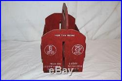 Vintage 1930's Wood Coca Cola Soda Pop 6 Bottle Carrier SignNice Condition