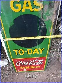 Vintage 1932 Robertson Drink Coca-Cola Sold Here Gas To-day Advertising Sign
