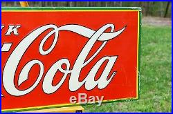Vintage 1935 Coca Cola Soda Xmas 1923 Bottle Embossed Sign Unfindable Nmint