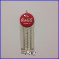 Vintage 1940'' 50's COCA-COLA 9 Red Button Thermometer Near Mint