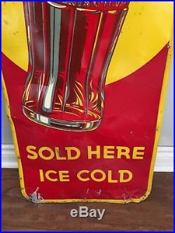 Vintage 1940 Canada VERTICAL Coke Bottle Coca Cola Metal Sign 53 By 17