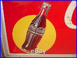 Vintage 1947 Pause Drink Coca-Cola Large 56 x 32 Not Porcelain Embossed Tin Sign
