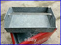Vintage 1950 Coca Cola 6-pack Picnic Cooler Ice Chest With Plug Opener Tray