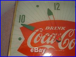 Vintage 1950'S Coca-Cola Fishtail Lighted Clock