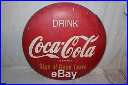 Vintage 1950's Drink Coca Cola Button Soda Pop 24 Metal Sign WithMounting Bracket