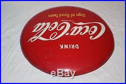 Vintage 1950's Drink Coca Cola Button Soda Pop Gas Station 16 Curved Metal Sign