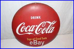 Vintage 1950's Drink Coca Cola Button Soda Pop Gas Station 16 Metal Sign