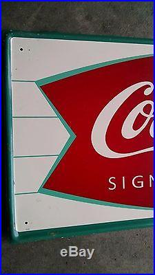 Vintage 1960s Coca Cola Fishtail metal Sign country store soda pop fountain jerk