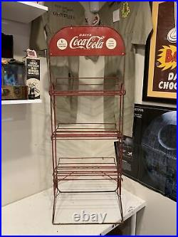Vintage Antique 1930s Coca Cola Advertising Folding Wire Store Display Rack Sign