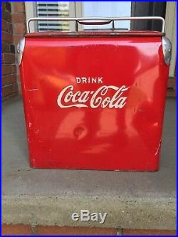Vintage Classic Red Metal Coca-Cola Coke Ice Chest Cooler & Tray Bottle Opener