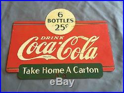 Vintage Coca-Cola 1937 Take a Carton Home 6 Pack Sales Rack Advertising Sign