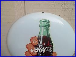 Vintage Coca Cola 1950's 16 Button With Hand Holding A Bottle