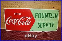 Vintage Coca Cola 28 Porcelain Fountain Service Coke sign Advertising metal