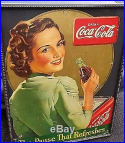 Vintage Coca Cola Die Cut Cardboard Sign Museum Glass Beaded Wooden Frame 45x34