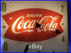 Vintage Coca-Cola Fishtail 15 Electric Lighted Wall Clock