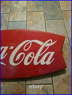 Vintage Coca Cola Fishtail Sign 26 Fish Tail Coke Sign Old