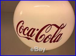 Vintage Coca Cola Hanging Ceiling Light Fixture Glass Globe 12 Diameter Wow HTF