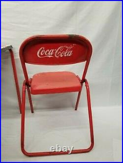 Vintage Coca Cola Mexico Porcelain Table with Two Chairs