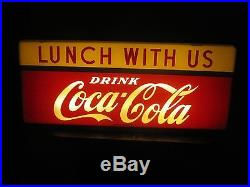 Vintage Coca Cola Price Bros. Lunch With Us Light Up Original Sign No Reserve