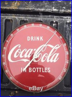 Vintage Coca-Cola Thermometer 1950's 12 Round Working NICE