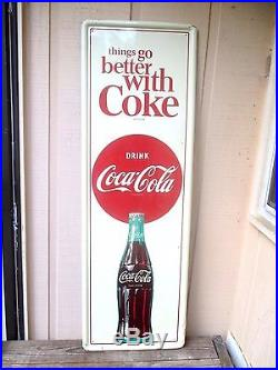 Vintage Coca Cola Things Go Better With Coke 1964 Original Sign No Reserve