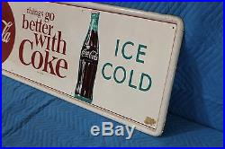 Vintage Coca Cola Things Go Better With Coke Soda Drink Button Sign 53 X 17