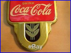 Vintage Coca Cola Twin Bottle Thermometer-Gold-1941