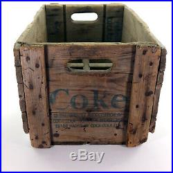 Vintage Coca Cola Wooden Crate Bottle Green Lettering Coke Box Rare Collectible