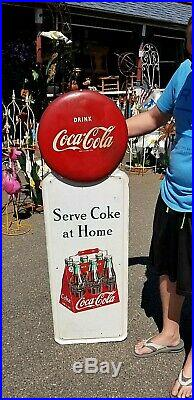 Vintage Early Coca Cola Soda Pop Metal Pilaster Button 6 Pack Sign Coke 55 X 16