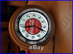 Vintage Electric Coca Cola Spinner Wall Clock Made by Neon Clock Sales Chicago