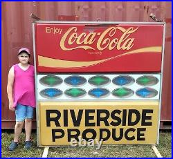 Vintage Hanging Coca-cola Coke Lighted Double Sided Advertisement Sign