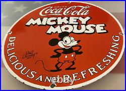 Vintage Mickey Mouse Coca Cola Porcelain Sign Metal Soda Gas Station Pepsi Dew