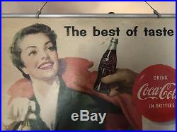 Vintage Original 1956 COCA COLA Double FRAMED Cardboard Sign 20 X 36