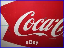 Vintage Original Coca-cola Tin Sign Bottle Bowtie Double Fishtail Ice Cold Coke