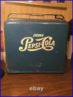 Vintage Pepsi Cola Picnic Cooler By Progress Ref. Co. Withsand Insert Single Dot