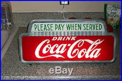 Vintage RARE Coca Cola 1950 Lighted Coke Sign Please Pay When Served