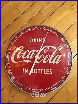 Vintage Round Bubble Glass Face Coca Cola Thermometer Sign