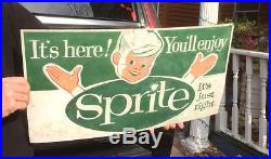 Vintage Sprite Soda Pop Metal Sign With Boy Child Graphic 25X14in By Coca Cola Co