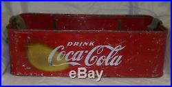 Vintage Stadium Vendor Coca Cola Red Metal Carrier With Opener And Strap