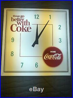 Vintage Things Go Better With Coke Lighted Clock Coca-Cola New Light