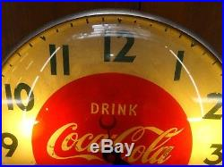 Vintage WORKING Swihart Products COCACOLA Bubble Glass Electric Wall Clock Sign