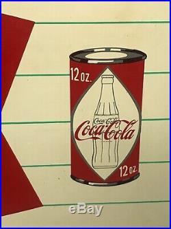 Vintage coca cola coke fishtail sign with Bottle & Diamond Can
