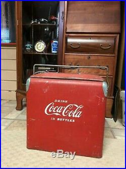 Vintage coca cola ice chest cooler with drain plug and opener