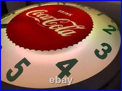 Vintage light up Coca-Cola clock Rare 22 inch sawtooth, Floating hands Read