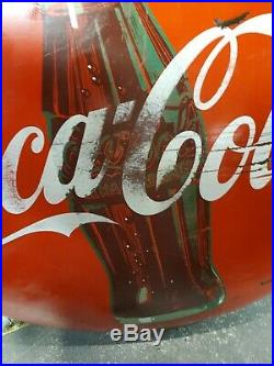 Vintage old antique coca cola bottle coke button round sign 48 inch red porcelai