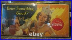 Vtg Coca Cola Here's Something Good Cowgirl Circus Litho Cardboard Sign 1951